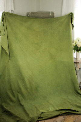 Antique French sheet dyed linen olive green large hemp cotton fabric 91X117 in