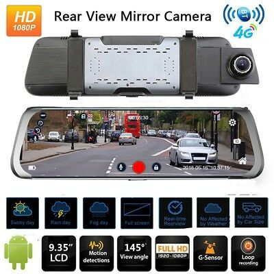 3G 1080p Car DVR Camera 9.35 inch Android 5.0 Rearview Mirror GPS Dash Cam H1