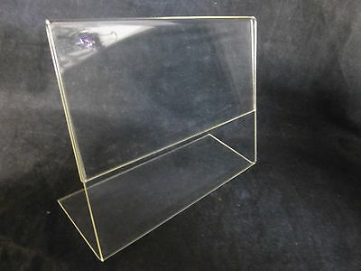 "USED Clear Slanted Acrylic 7 x 5.5""  Sign Flyer Menu Holder Display"