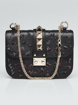 5b35cdc0d4c6 VALENTINO BLACK LEATHER Beaded Rockstud Glam Lock Small Flap Bag ...
