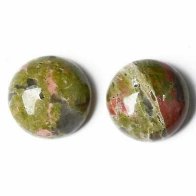 Packet 6 x Green/Orange Unakite Flat Back 8mm Coin 4mm Thick Cabochon CA16671-1