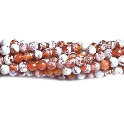 Fire Agate Faceted Round Beads 6mm Red/White 60+ Pcs Gemstones Jewellery Making