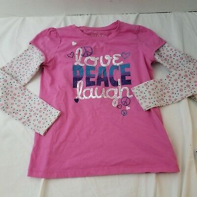 Faded Glory Girls Shirt Size Large 10-12 Pink Love Peace Laugh Long Sleeve