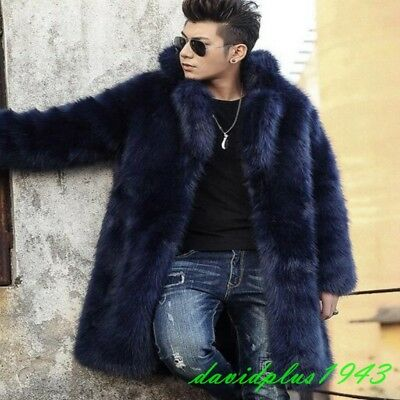 Luxury Mens Real Fox Fur Winter Thick Warm Mid Long Business Parka Overcoats New