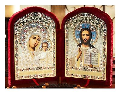 Christ the Teacher Madonna & Child Kazan Russian Orthodox Catholic Icon Diptych