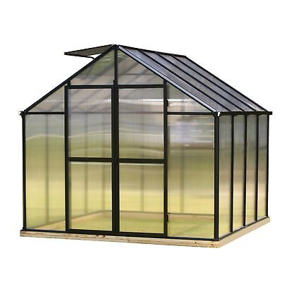 Monticello 8FT x 8FT Black Greenhouse w/ light diffusing walls and roof