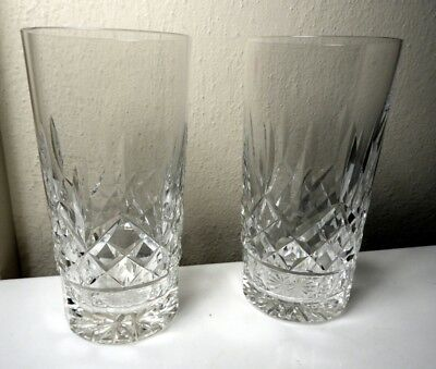 2 Waterford Crystal LISMORE Highball Glasses (2) Excellent !!