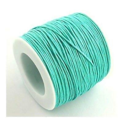 1 x Turquoise Waxed Cotton 5m x 1mm Thong Cord Continuous Length Y06190