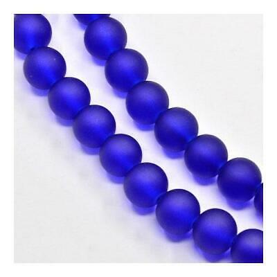 Strand 135+ Blue Glass 6mm Frosted Plain Round Beads Y05305