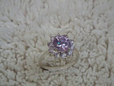 Silvertone Lavender Crystal Cocktail Ring ~ Size 7 (D6)