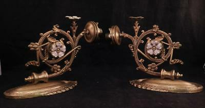 Antique Pair Art Nouveau Bronze Wall Sconces~Candle Holders~Enamel Flowers~VGC