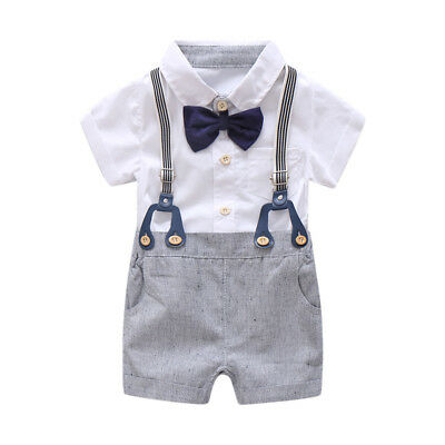 Newborn Baby Boy Summer Formal Clothes Set Bow Wedding Birthday Gentleman Outfit