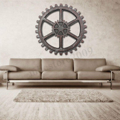 Wooden Gear Wall Art Industrial Antique Vintage Chic Modern Pub Bar Decor