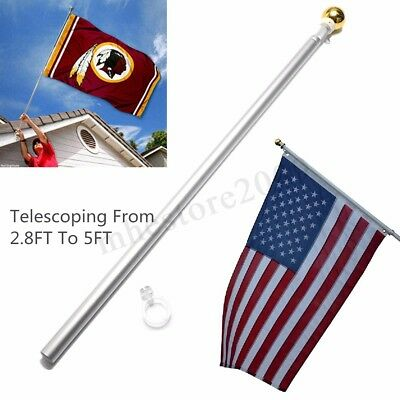 Aluminum 5FT Silver Brushed Telescopic Flag Pole Flagpole Kit For Valley