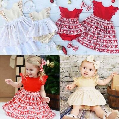 Christmas Baby Girls Sisters Hairband Xmas Lace Romper Party Princess Dress AU