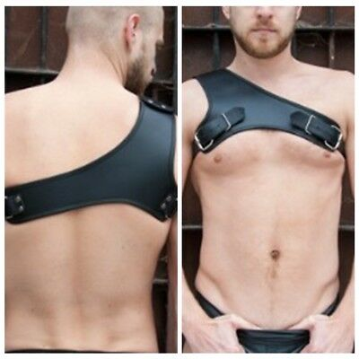 Mens Black Leather One Shoulder Harness Muscle Body Chest Belts Clubwear Costume