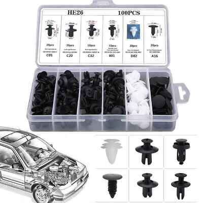 6size 100pc Clip Trim Car Push Pin Rivet Bumper Door Panel Retainer Fastener Set
