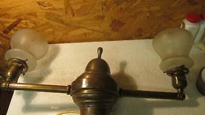 Antique 2 Arm Brass Light Fixture &  Wheel Cut Shades