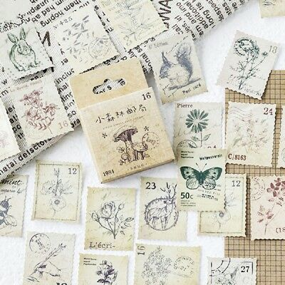46pcs Kawaii Vintage Stamps Stickers Stationery DIY Scrapbooking Diary Stickers