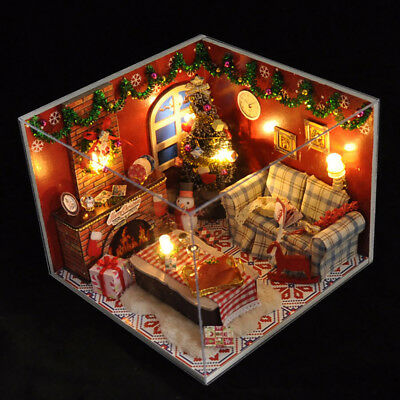 Dollhouse Miniature DIY House Model Building Kit Wooden Creative Room Xmas Gift