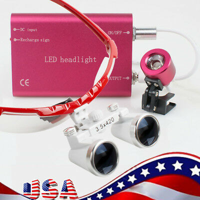 3.5x420mm Dental Loupes Loupe Magnifier Red Frame with Head Light Kit Set【 Red 】