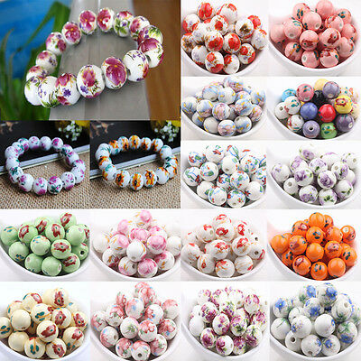 10pcs Chinese Flower Porcelain Loose Round Beads DIY Jewelry Making Craft Gift