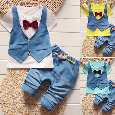 Kids Baby Boys Round Neck Short Sleeve Casual Fashion Cute T Shirt +Pants Outfit
