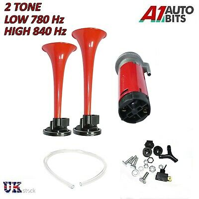 Dual Trumpet Air Horn 12 V 178dB Car Truck RV Train Boat Loud Replacement