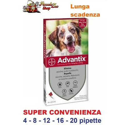 Advantix Bayer 10-25kg antiparassitario per cane 4- 8- 12- 16- 20 pipette
