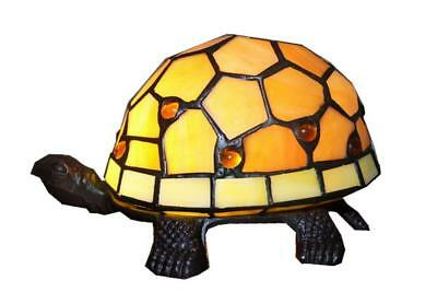 Amber Turtle Tiffany Leadlight Art Deco Stained Glass Accent Lamp