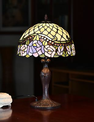 "12"" Jeweled Rose Style Leadlight Stained Glass Tiffany Bedside Lamp"