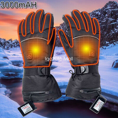 Rechargeable Motorcycle Electric Heated Gloves Bike Warmer Hands +2 Battery