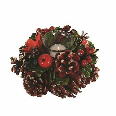 Festive Red & Green Single Christmas Candle Holder 18cm