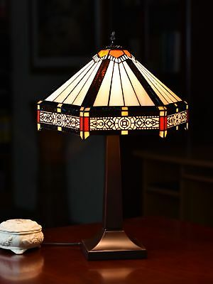 Tiffany Lamp Hexagon Shade Stained Glass Table Lamp  with Intricate Filigree Acc