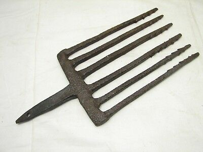 Antique 5-Tine Fish Eel Frog Gig Tool Spear Head Hand Forged Fishing Tool Fork