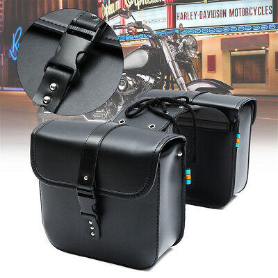 2Pcs Universal Motorcycle Saddle Tool Bag Side Pannier Luggage Bags PU Leather