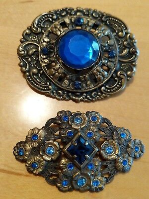 2 Antique Victorian Brass Brooches with Blue Stone, Art Noveau, C-Clasp Vintage