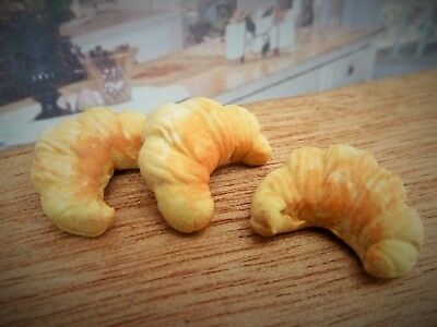 Dolls House Miniature Food Handmade * 3 X Croissants * Combined P+P