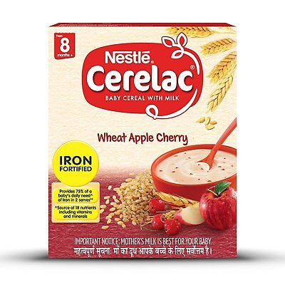 Nestlé Cerelac Infant Cereal Stage-2 8 Months-24 Months Wheat Apple Cherry 300gm