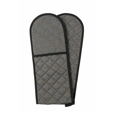 Beau and Elliot Dove Double Oven Glove Grey Gold Hearts Print Modern Stylish