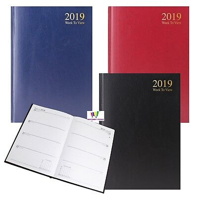 2019 A5 Week To View Diary Hardback Cover  Red Blue Black