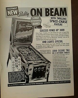 BALLY On Beam Space Chase Chicago Coin MOON SHOT APOLLO pinball 4 ads 1969