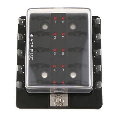 10-Way Circuit Fuse Holder with LED Light ATO Fuses Box for Cars Automotive