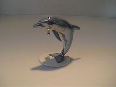 Vintage Hagen Renaker Iridescent Dolphon On Base
