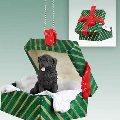 Newfoundland Newfie Dog Green Gift Box Holiday Christmas ORNAMENT