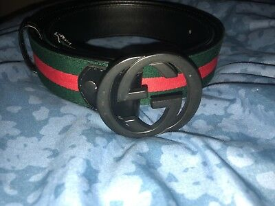 cdb231efc96 AUTHENTIC GUCCI MEN S Black Red Green Leather Web Stripe Belt 114984 ...