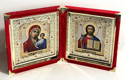 Christ the Teacher Madonna and Child Kazan Matching Icon Set Russian Diptych 10""