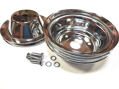 SB Chevy 350 Long Pump Chrome Steel Pulley Kit 1 Groove Upper 2 Groove Lower SBC