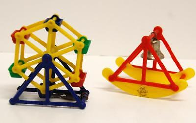 VTG Parakeet Toys Plastic Ferris Wheel seed holder & Rocking Bell Bird Perch