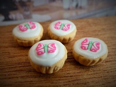 Dolls House Miniature Food Handmade * Pink Butterfly Cupcakes *combined P+P